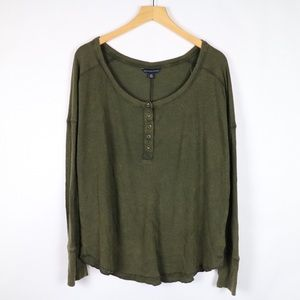 American Eagle olive henley long sleeves NWT